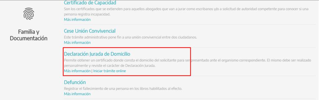 Imagen: Certificado de Domicilio