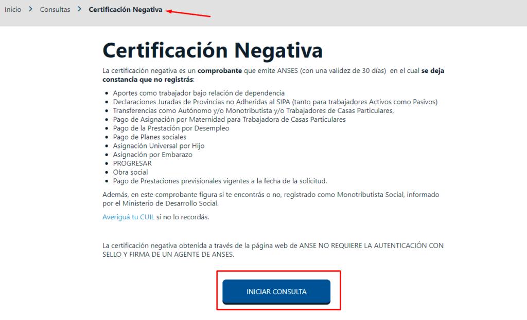 Imagen: Certificado de negatividad